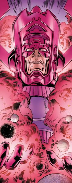 "Galactus is the famed ""Devourer of Worlds"" in the Marvel Universe. His powers are nearly omnipotent. He has appointed a number of entities as his Heralds, imbuing them with the Power Cosmic. He uses energy from the core of planets and universal sources to sustain himself. He has currently been changed into the Lifebringer, who restores life to the planets Galactus has destroyed."