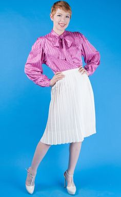 Violetville Vintage - EVAN PICONE Vtg 70s Pussybow PINK+BLUE Sateen Blouse/Top S/M - Long Sleeve - Tops - Clothing