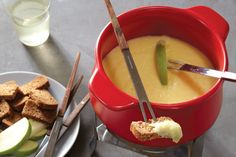 Blonde Bliss Vegan Fondue. Blending waxy or boiling potatoes with an immersion blender gives them a stretchy, stringy texture that mimics cheese and adheres to fondue dippers. Recipe by Aurelia d'Andrea.