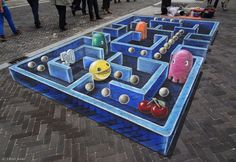 I wonder if this is what Pac-Man would look like if it was created today. http://mashable.com/2012/06/20/pac-man-3d-street-art/#708673D-PacMan-Street-Art
