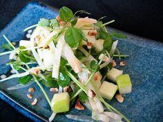 Pea Shoot, Celeriac, Apple and Hazelnut Salad by Pitchfork Diaries