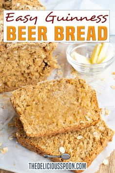 This Guinness Beer Bread is a quick and easy no yeast bread. Enjoy with butter, as a side to dip into your favourite soups and chilis, or sliced for sandwiches. If you're looking for a tasty, easy bread recipe that doesn't require special equipment or waiting for the yeast to rise, this no yeast beer bread recipe is just what you need. With just a handful of common pantry ingredients and a bottle of Guinness beer, this easy beer bread has the light, fluffy texture.. | @thedeliciousspoon