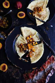 A mouthwatering yet simple recipe that consists of thin crepes with a star anise, vanilla and cinnamon nectarine reduction. Crepe Recipes, Brunch Recipes, Dessert Recipes, Crepe Ingredients, My Favorite Food, Favorite Recipes, Breakfast Bake, Star Anise, Sugar And Spice