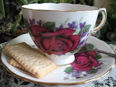 Tea Cup & Saucer English Bone China Royal Vale Red Rose Violets  1950's  Mid Century Ridgeway Pottery TeaTime Cottage Shabby Chic Victoria