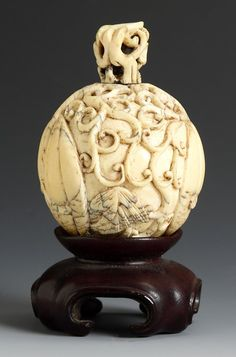 Chinese Carved Ivory Snuff Bottle