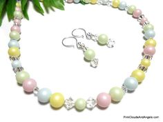 Necklace and Earrings Jewelry Set Pastel Swarovski Pearl and Crystal Handmade Yellow Mint Green Baby Blue Pink Sterling and Silver Filled - pinned by pin4etsy.com
