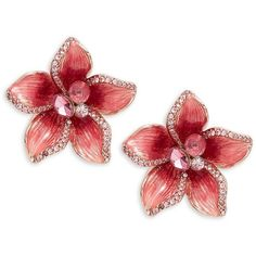 Kate Spade New York Crystal Flower Statement Stud Earrings (168.840 COP) ❤ liked on Polyvore featuring jewelry, earrings, pink, rose stud earrings, crystal stud earrings, crystal flower earrings, flower stud earrings and 14k earrings