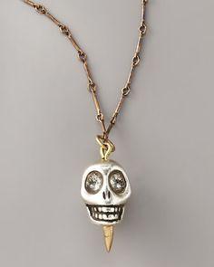 Pamela Love   Skull Pendant Necklace, Silver  $100.00