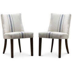Gibsen Set of 2 Dining Chairs, Quick Ship ($659) ❤ liked on Polyvore featuring home, furniture, chairs, dining chairs, blue strip, upholstery chairs, fabric dining chairs, blue chair, twin pack and pair chairs