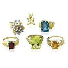 10k 14k Gold Gemstone Ring Pendant Lot Available on our August 11th Auction @ hamptonauction.com
