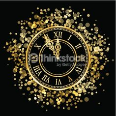 Clipart vectoriel : new year gold shiny clock