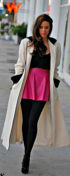 Hot pink skirt with black top