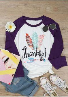05ccb6f16bd Women Thankful Feather Print T shirt O Neck Letter Printed Long Sleeve  Raglan Sleeve Splicing Female Autumn Tops Tee. plusinlove
