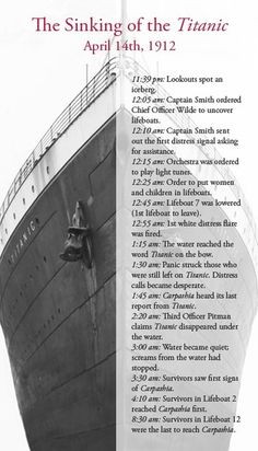 Titanic time line of when everything took place. It started sinking on the 14th and sunk on the 15th.