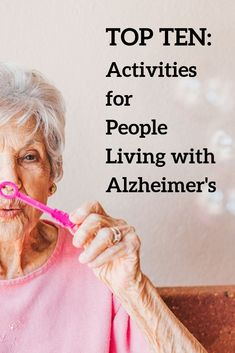 Do you know someone with Alzheimer's? Here are some great activities for them to do! - See what activities a person with Alzheimer's can greatly benefit from with these tops ten activi - Activities For Dementia Patients, Alzheimers Activities, Elderly Activities, Senior Activities, Dementia Care, Alzheimer's And Dementia, Physical Activities, Physical Education, Cognitive Activities