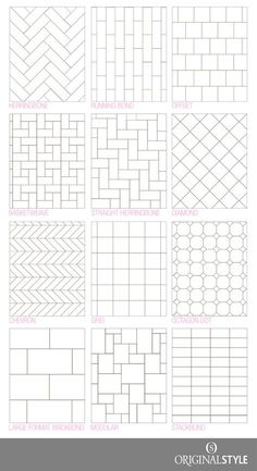 Your Guide to tile pattern layouts – Kitchen Rehab – Kreativ 12x24 Tile Patterns, Tile Layout Patterns, Shower Tile Patterns, Floor Design, Tile Design, Layout Design, Herringbone Tile, Floor Layout, Bathroom Floor Tiles