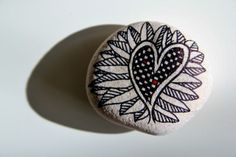 """""""heart"""" ~ pebbles from Portugal, hand painted by Sabine Ostermann"""