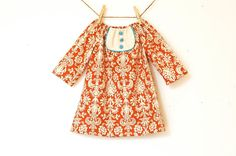 Girls+3/4+Sleeve+Tunic+Dress+with+Bib+/+Rust+by+weestitchery,+$40.00