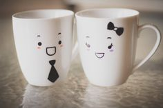 Couple Coffee Mugs Cute Coffee Mugs His Hers Mug by OOEInteriors