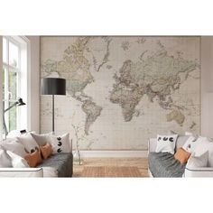 Wall Mural World map vintage german - Home Page Wall Colors, House Colors, Interior And Exterior, Interior Design, Wall Maps, Wall Mural, Room Tour, House Goals, My Room