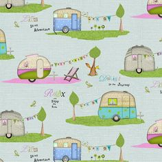 Adorable Blue Camper Fabric- By the Yard - By Studio E Fabrics-CUTE! New on the Market! Cotton