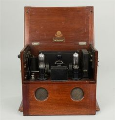 Marconi Two Valve Long Range Radio Receiver, with interchangeable tuning coils ranging from 300 to 530 meters, c.1920.