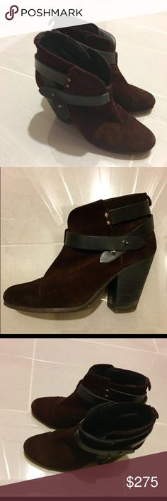 Rag & Bone Harrow Booties (brown / burgundy) 7.5 Rag & Bone suede Harrow Bootie in brown suede leather (I think it looks more like a dark burgundy, but it goes with everything). Great condition, worn less than a dozen times. Size is 37.5 which is a 7.5 US but you should size down 1/2 size (so this is probably the size for you if you wear a 7). All leather, 3 1/2 inch hell. These are the perfect booties (no wonder they are so popular year after year) because they're  cute and comfortable…