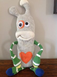 Theo Handmade Sock Monster por MunsterMania en Etsy