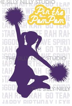Printable Cheerleader party poster Pin the by thesillynillystudio, $8.00