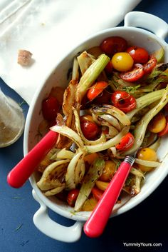 A fennel salad can make a healthy yet delicious addition to your summer meals, the cherry tomatoes and lime in the dressing, a boon for summer!