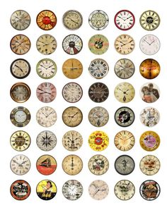 Vintage Clocks Printable Digital Collage Sheet by shadowdancer2, $3.00