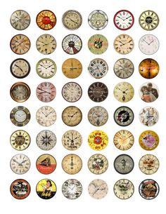 Vintage Clocks Printable Digital Collage Sheet Images 1 inch Circles