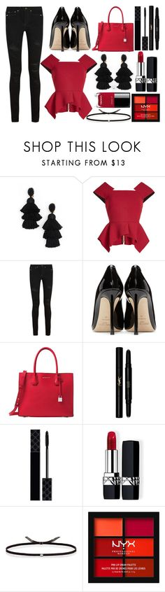 """Tassel Earrings"" by princess13inred ❤ liked on Polyvore featuring Oscar de la Renta, Roland Mouret, Yves Saint Laurent, Jimmy Choo, Michael Kors, Gucci, Christian Dior, Ileana Makri, NYX and Chanel"