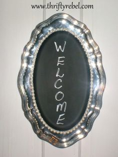Easy chalkboard sign makeover of a silver plated tray Diy Projects To Try, Crafts To Do, Craft Projects, Craft Ideas, Silver Platters, Silver Trays, Chalkboard Ideas, Chalkboard Paint, Chalk Paint