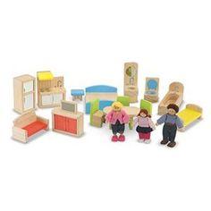 Melissa & Doug® Dollhouse and Furniture Set (set of 18)