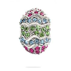 Easter Large Egg , Sterling Silver Pandora Style Bead Charm with Fuchsia ,Light Blue and Green Austrian Crystal, Fits Pandora , Troll Bracelet, All Crystals Are Prong Setting on Sterling Silver « MyMallHome.com – Closest Shopping Mall on the Internet