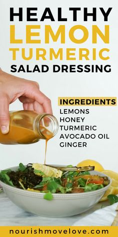 ____replace honey with agave____Lemon Turmeric Superfood Salad Dressing Lemon Salad Dressings, Salad Dressing Recipes, Turmeric Salad Dressing Recipe, Vinaigrette Dressing, Salad Recipes, Healthy Nutrition, Healthy Eating, Nutrition Tips, Nutrition Products