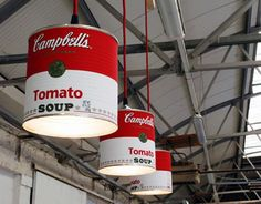 There is something so iconic about a Campbell soup can, particularly after Andy Warhol got hold of them. Now William Heefer of Fuse has recycled pop art into light fixtures. He collects the industrial sized cans from restaurants and cafés in Dublin Diy Luz, Campbell's Soup Cans, Diy Lampe, Retro Lighting, Lighting Ideas, Kitchen Lighting, Overhead Lighting, Unique Lighting, Recycle Cans