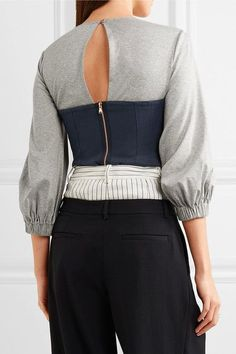 Tibi - Paneled Cotton-jersey And Linen Top - Gray - US10