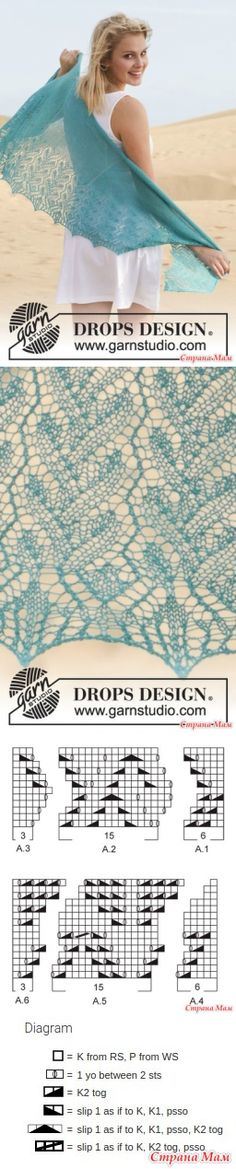 Mantón Costa Azul by DROPS Design - Punto - País mamá