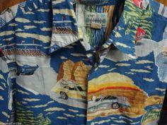 REYN SPOONER Mans Shirt AMERICAN CLASSICS Vintage Cars Antique XL  #ReynSpooner @reynspooner