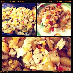 I love me some eggs and potatoes! I took the potatoes (gold potatoes) and baked them for 30 mins at 400 with olive oil, Everglades seasoning (delish), and black pepper. I waited til the potatoes were done and added chopped onions and chopped bell peppers sautéed in olive oil for extra flavoring. Then I made two eggs: one egg cooked over medium and one egg white (cuts the cholesterol in half) and served it all at once and scrambled it altogether. Seriously deliciously!