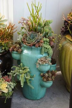 Paint, varnish, add succulents to your strawberry pots....bring inside during the winter for instant color & life! Succulent Gardening, Succulent Pots, Cacti And Succulents, Planting Succulents, Planting Flowers, Succulent Landscaping, Landscaping Tips, Organic Gardening, Succulent Care