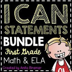 I Can Statements: These First Grade I Can statement charts are perfect to display on an objective board or a focus board! Includes all 1st Grade Math & ELA Common Core standards.