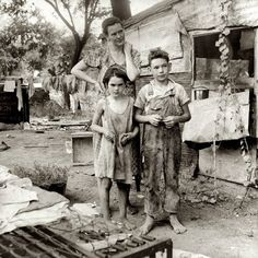 "August 1936. ""People living in miserable poverty. Elm Grove, Oklahoma County, Oklahoma."" by Dorothea Lange for the Farm Security Administration."