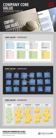 In our new Company Core Value set you have the possibility to choose between traditionally designed or modern worksheet templates. Create your own PowerPoint presentation in no time. Download now at http://www.presentationload.com/company-core-value-powerpoint-template.html