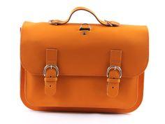 Own Stuff 007 lederen boekentas  oranje