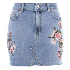 TopShop Moto Denim Floral Skirt ❤ liked on Polyvore featuring skirts, mini skirts, floral denim skirt, floral skirt, denim skirts, floral print skirt and blue skirts