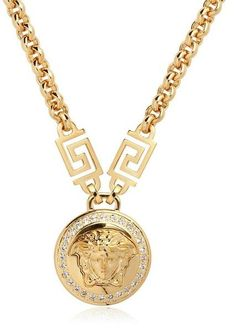 Versace Jewelry for Men | Versace Medusa Crystals Gold Plated Necklace in Gold - love | #mensfashion | #mens | #fashion