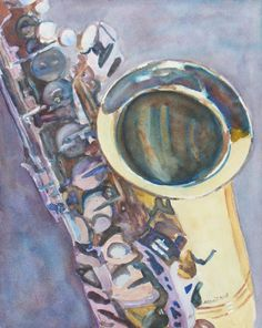 Watercolor Painting of A Saxaphone by Jenny Armitagedancingfeatherstudio.com
